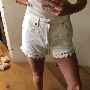 Free people high waisted white denim/lace shorts